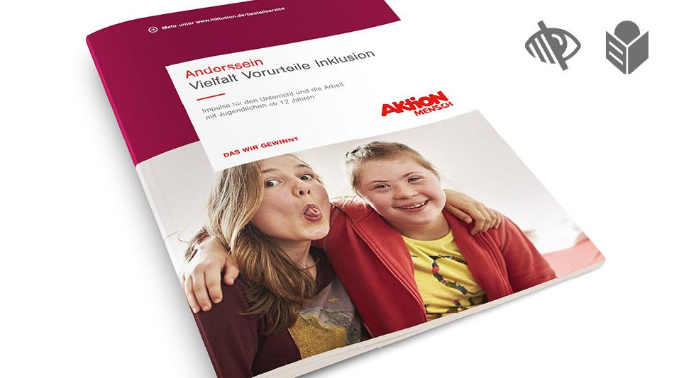 """Titelseite der Broschüre """"Anderssein – Vielfalt, Vorurteile, Inklusion"""""""